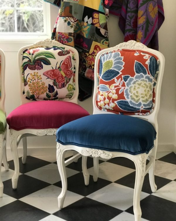 Colorful Chairs for an All-White Kitchen - Chair Whimsy