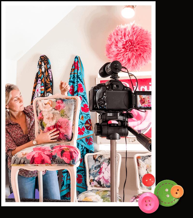 Wendy Conklin filming DIY Custom Chair online course