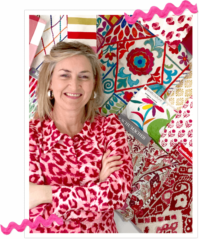 Wendy Conklin with collage of colorful fabrics