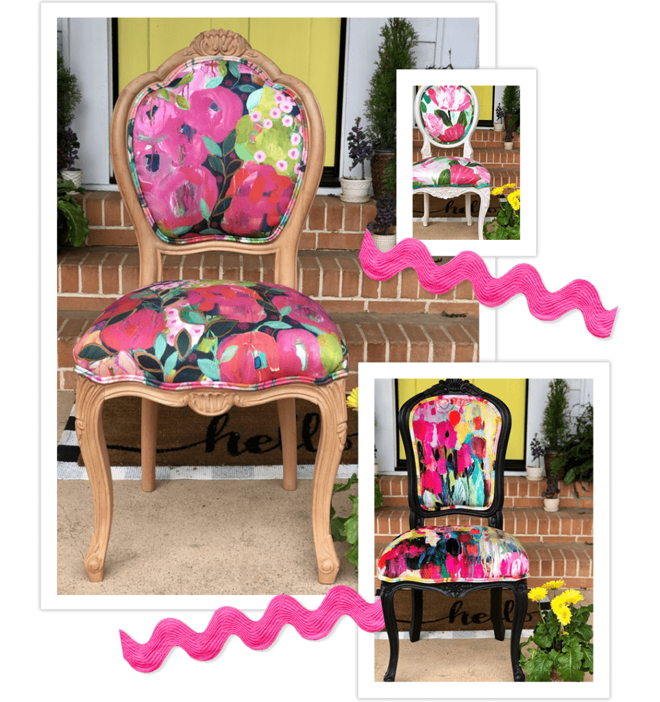 spring themed upholstered chairs